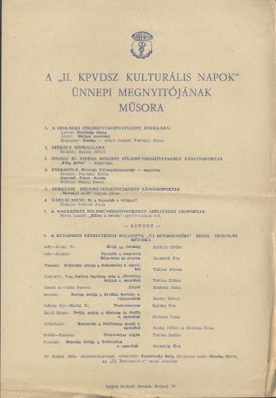A II. KPVDSZ Kulturális napok ünnepi megnyitójának műsora