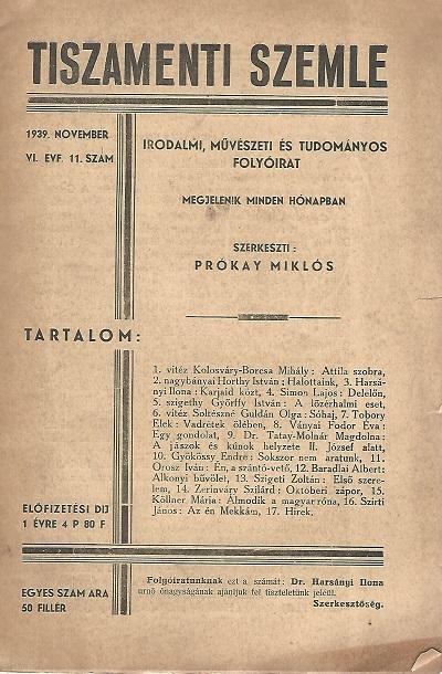 Tiszamenti Szemle 1939