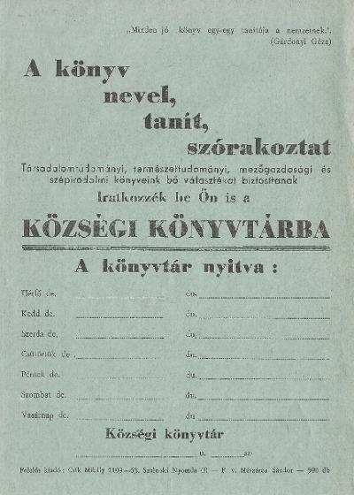 Községi könyvtár tájékoztatója