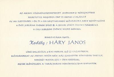 """Az abonyi Földművesszövetkezet """"Rozmaring"""" Népi együttesének meghívója a Bihari János Állami Zeneiskola 10 éves jubileumi műsorára. Bemutatásra kerül Kodály: Háry János."""