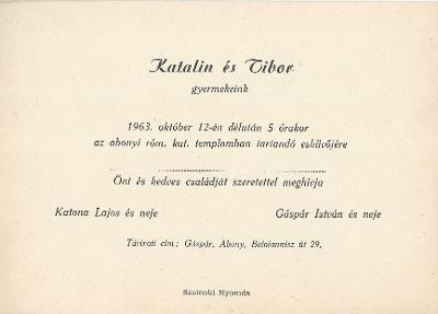 Katalin és Tibor esküvői meghívója