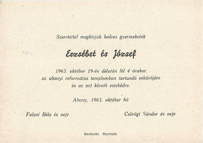 Erzsébet és József esküvői meghívója