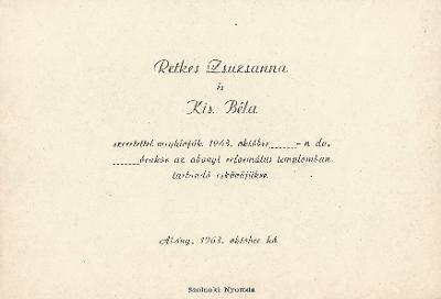 Retkes Zsuzsanna és Kis Béla esküvői meghívója