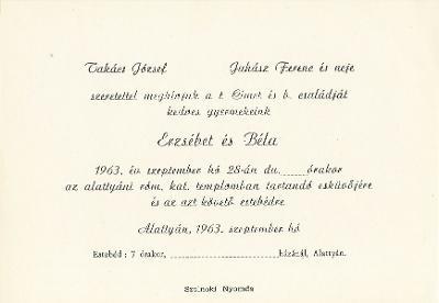 Erzsébet és Béla esküvői meghívója