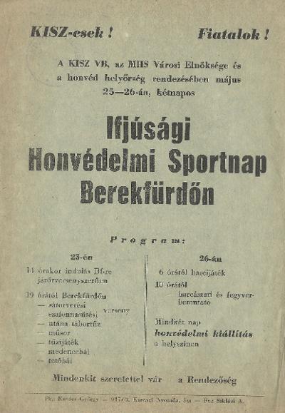 Ifjúsági Honvédelmi Sportnap Berekfürdőn