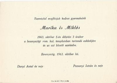 Marika és Miklós esküvői meghívója