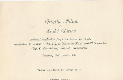 Gergely Mária és Szabó Ferenc esküvői meghívója