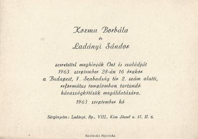 Kozma Borbála és Ladányi Sándor esküvői meghívója