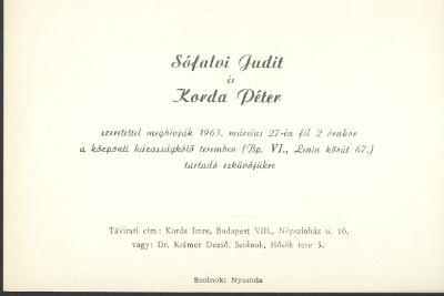 Sófalvi Judit és Korda Péter esküvői meghívója