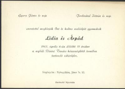 Lídia és Árpád esküvői meghívója