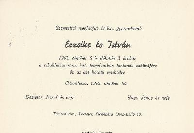 Erzsike és István esküvői meghívója