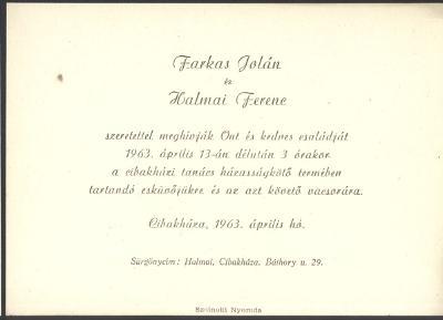 Farkas Jolán és Halmai Ferenc esküvői meghívója
