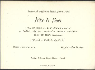 Évike és János esküvői meghívója