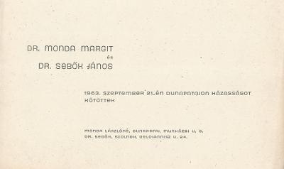 Dr. Monda Margit és Dr. Sebők János esküvői értesítője