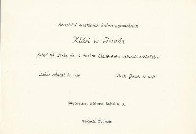 Klári és István esküvői meghívója