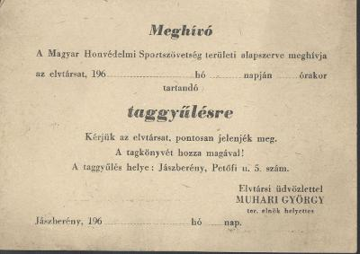 Meghívó a Magyar Honvédelmi Sportszövetség taggyűlésére