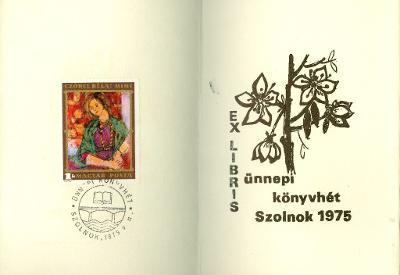 Ünnepi Könyvhét országos vidéki megnyitója a 900 éves Szolnokon. Verseghy Könyvtár, 1975 virágmotívum