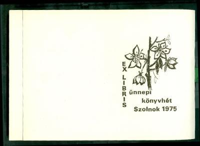 Ünnepi Könyvhét Szolnok 1975 Kopasz Mária virágmotívum - nyomtatólap