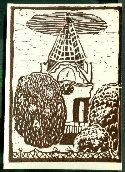 Jászkisér, Református Templom tornya Magyarország gyermekszemmel linómetszetekben Szávai István és a Szolnoki Metszőkör