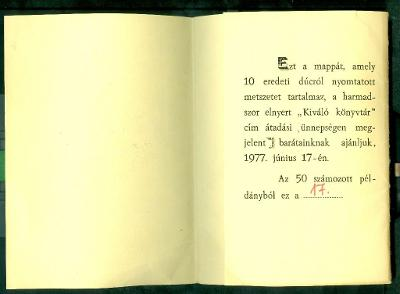 Jászberény Városi és Járási Könyvtár kisebb mappa, amiben 10 db eredeti dúcról nyomtatott metszet van belső oldal