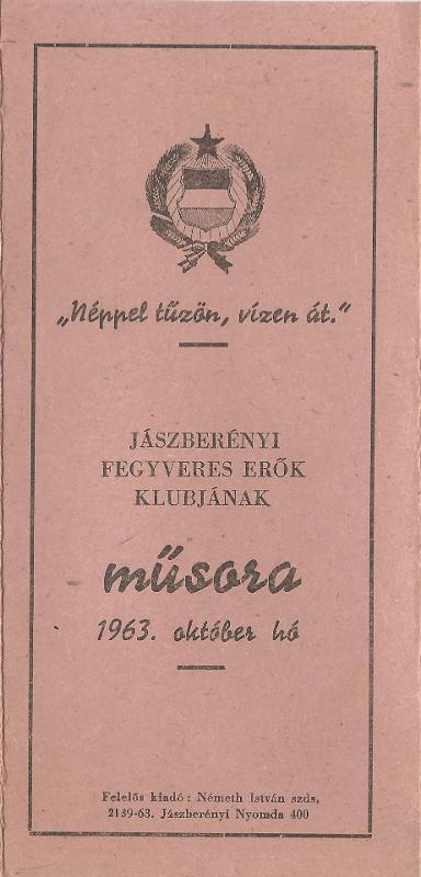 A Jászberényi Fegyveres Erők Klubjának 1963. október havi műsora