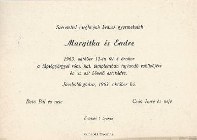 Margitka és Endre esküvői meghívója