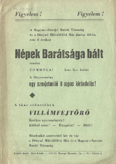 A Magyar-Szovjet Baráti Társaság Népek barátsága bált rendez
