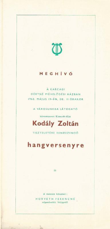 Meghívó Kodály Zoltán tiszteletére rendezett hangversenyre