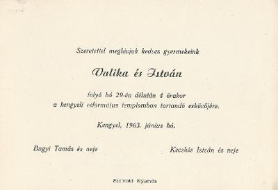 Bugyi Valika és Kecskés István esküvői meghívója