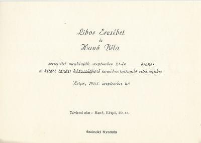 Libor Erzsébet és Hanó Béla esküvői meghívója