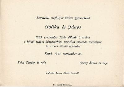 Fejes Jolika és Arany János esküvői meghívója