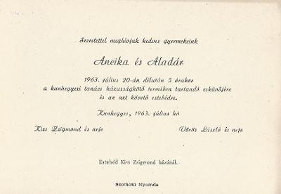 Ancika és Aladár esküvői meghívója