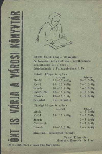 Mezőtúri Városi Könyvtár tájékoztatója