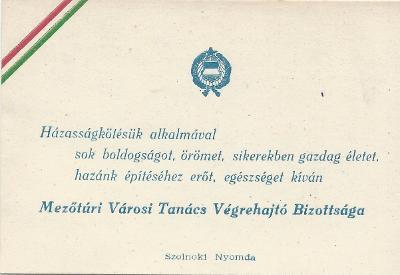 A mezőtúri Városi Bizottság gratulációs kártyája