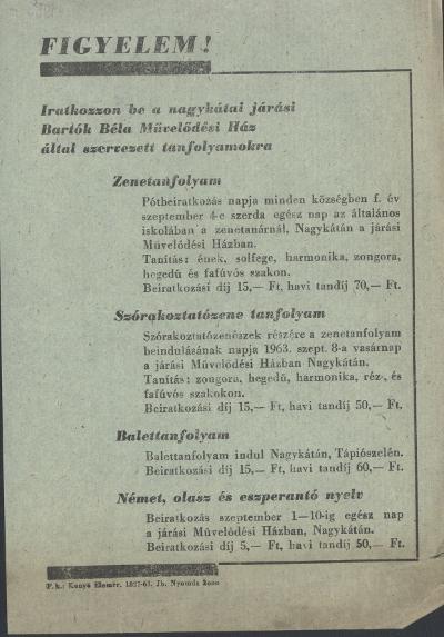 A nagykátai Bartók Béla Művelődési Ház felhívása