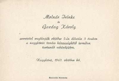 Molnár Irénke és Gazdag Károly esküvői meghívója
