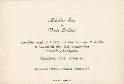 Miheller Éva és Veres Zoltán esküvői meghívója