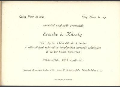 Csősz Erzsike és Süly Károly esküvői meghívója