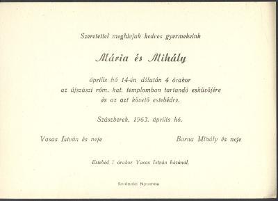 Vasas Mária és Barna Mihály esküvői meghívója
