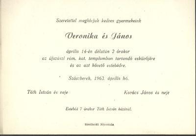 Tóth Veronika és Kovács János esküvői meghívója