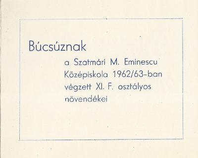 A szatmári M. Eminescu Középiskola XI/F. osztályának ballagási meghívója