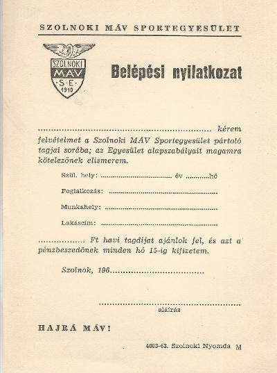 Szolnoki MÁV Sportegyesület Belépési nyilatkozata