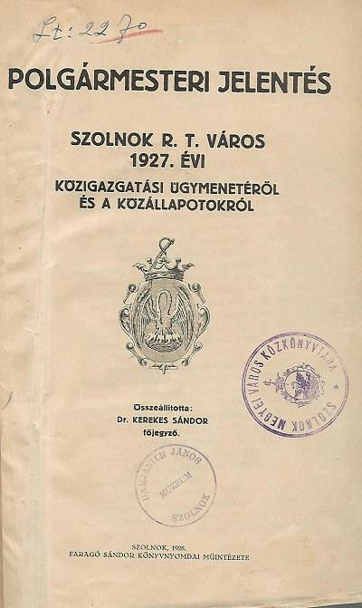Polgármesteri jelentés 1927