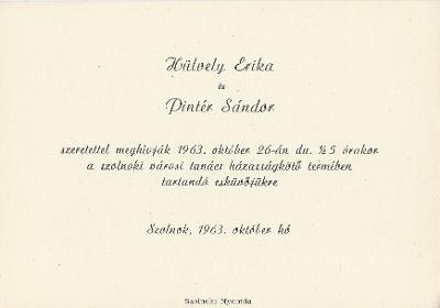 Hülvely Erika és Pintér Sándor esküvői meghívója