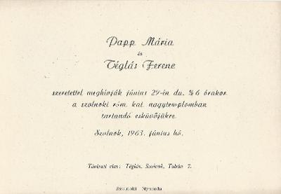 Papp Mária és Téglás Ferenc esküvői meghívója