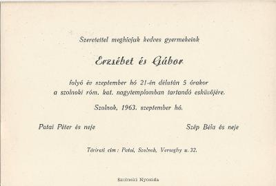 Patai Erzsébet és Szép Gábor esküvői meghívója