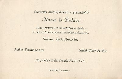 Radics Ilona és Szabó Balázs esküvői meghívója
