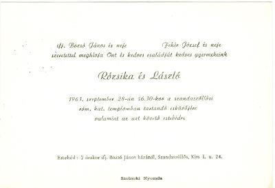 Bozsó Rózsika és Fehér László esküvői meghívója