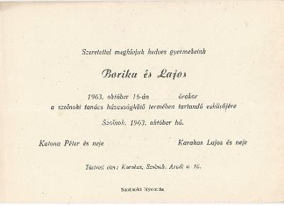 Katona Borika és Karakas Lajos esküvői meghívója