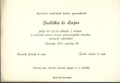 Barcsik Juditka és Fuchs Lajos esküvői meghívója